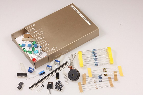 Electronics components of the Arduino Starter Kit